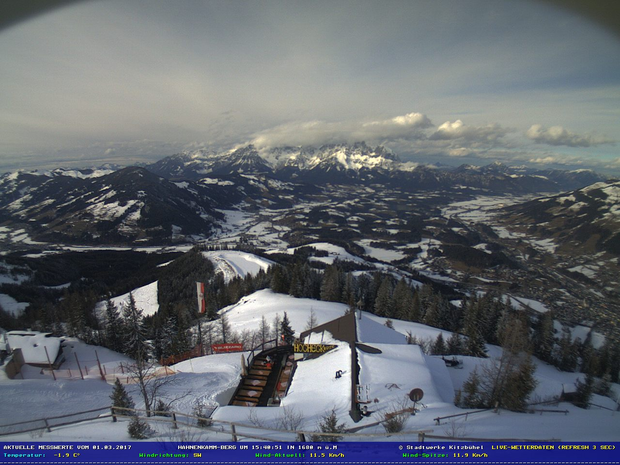 Kitzbühel, the Hahnenkamm Ski area Live Cam, Austria